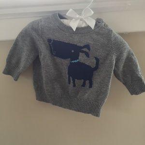 Gap 0-3 Month Grey Dog Sweater